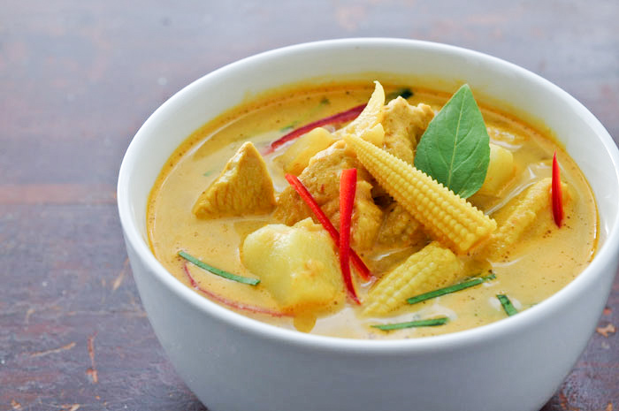 ... fish curry take pan off heat and spoon thai fish yellow curry with