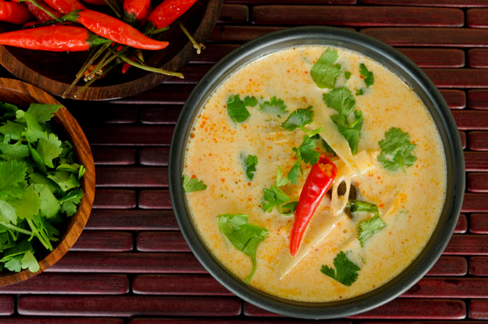 Thai Coconut Chicken Soup (Tom Kha Gai) With Mushrooms Recipes ...