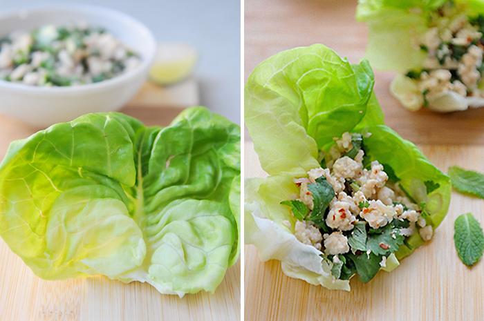 Larb Lettuce Cups | ลาบไก่ห่อผักสลัด