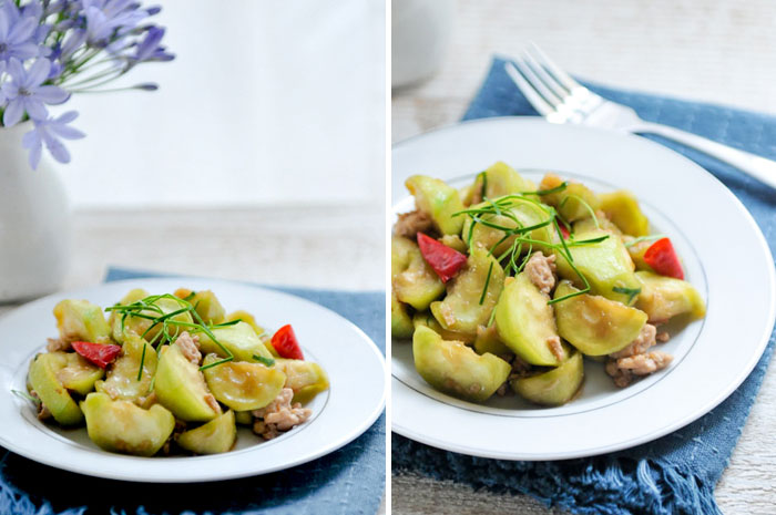 Loofah with Kaffir Lime Leaves | Pad Buap Liyam | ผัดบวบเหลี่ยม