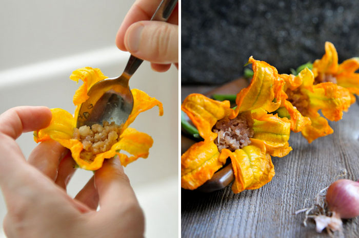 Pork-Stuffed Squash Blossoms | Dawg Fugtong Tod | ดอกฟักทองทอด